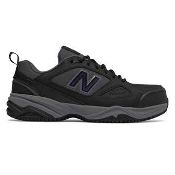 New Balance Steel Toe 627v2 Leather, Black with Purple