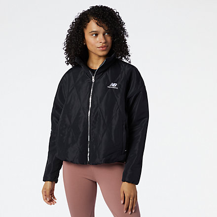 New Balance NB Athletics Argyle Quilted Jacket, WJ11507BK image number null
