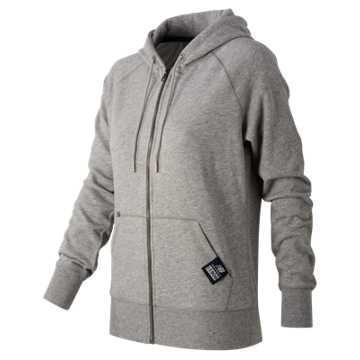 New Balance Essentials Plus Full Zip Fleece Hoodie, Athletic Grey