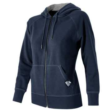 New Balance Essentials Plus Full Zip Fleece Hoodie, Navy