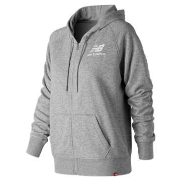 New Balance Essentials Full Zip Hoodie, Athletic Grey