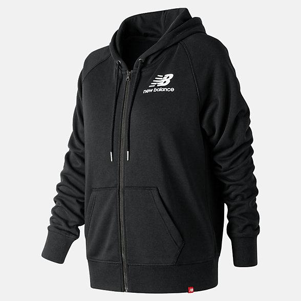 NB Essentials Full Zip Hoodie, WJ91524BK