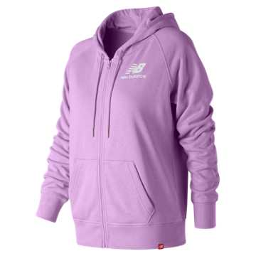 New Balance Essentials Full Zip Hoodie, Dark Violet Glo