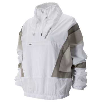 New Balance NB Athletics Select Windbreaker, White with Moonbeam & Warm Alpaca