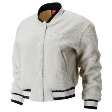 New Balance NB Athletics Stadium Sherpa Bomber, White