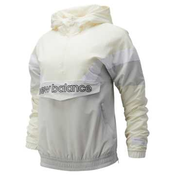 New Balance NB Athletics Stadium Insulated Anorak, Sea Salt with Summer Fog & White