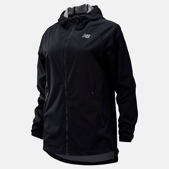 New Balance Core Light Weight Rain Jacket, WJ93860BK