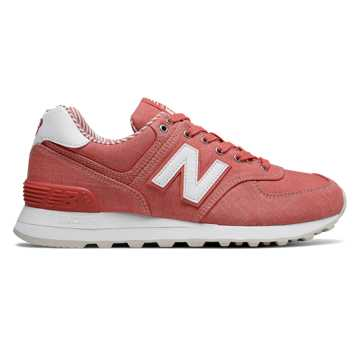New Balance 574 Beach Chambray, Coral with White
