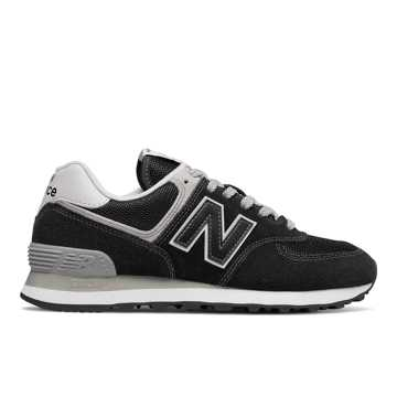 New Balance Women's 574, Black with White