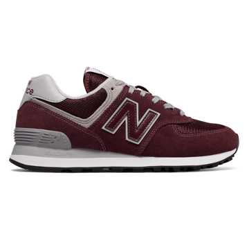 New Balance Women's 574, Burgundy with White