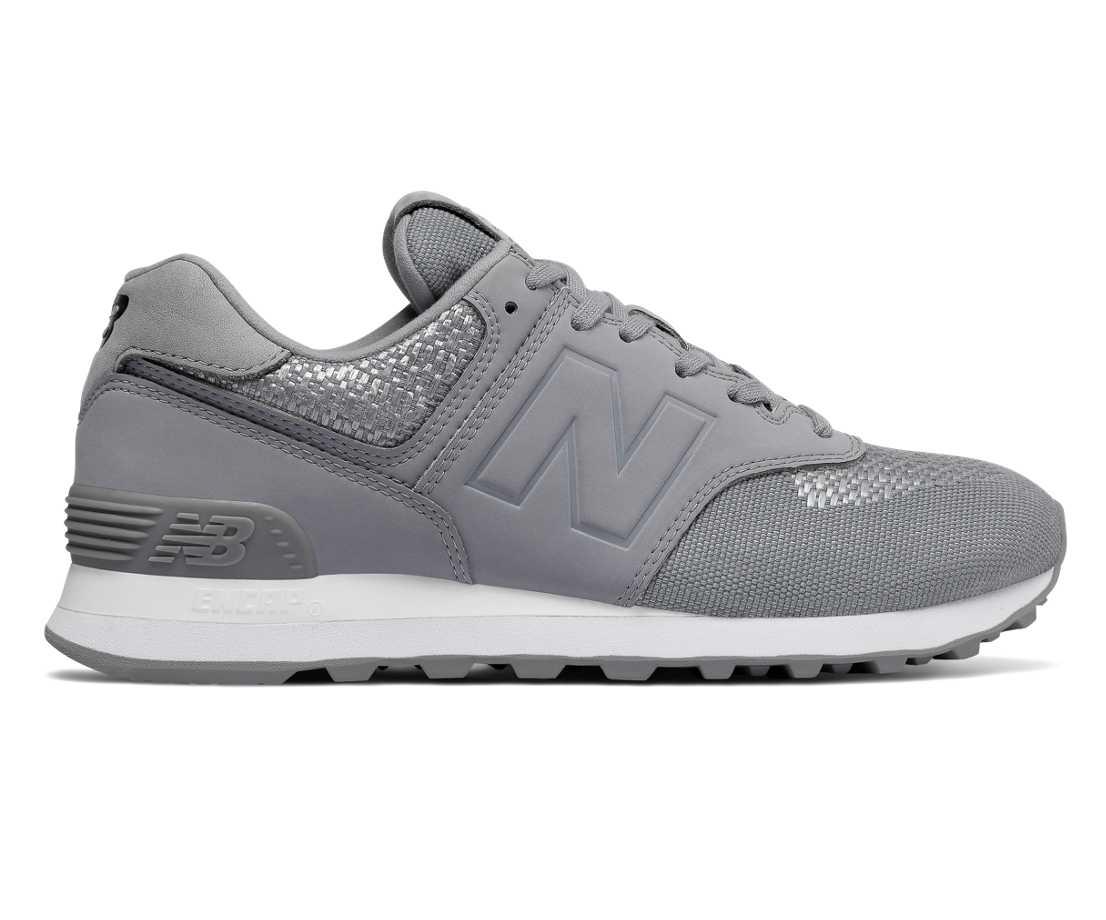 NB 574 Tech Raffia, Silver Grey with Steel