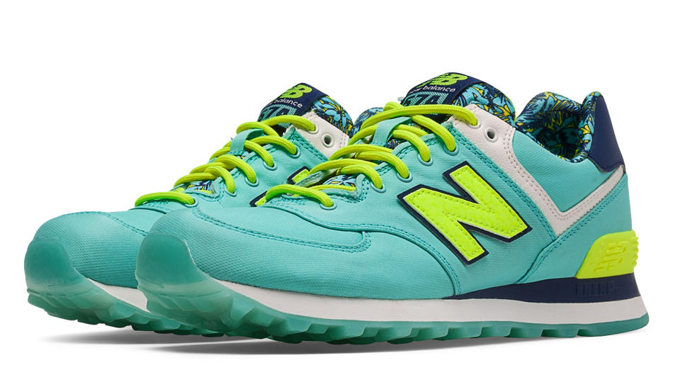 New Balance 574 Luau Blue Light With Lime Yellow Navy