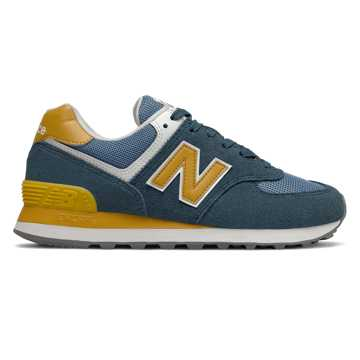 New Balance 574, Orion Blue with Varsity Gold