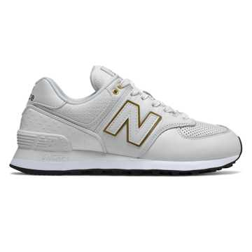 New Balance 574, White with Metallic Gold