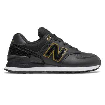 New Balance 574, Black with Metallic Gold
