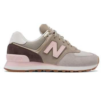 New Balance 574 Metallic Patch, Light Cliff Grey with Light Gold