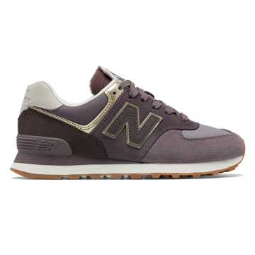 New Balance 574 Metallic Patch, Dark Cashmere with Light Gold