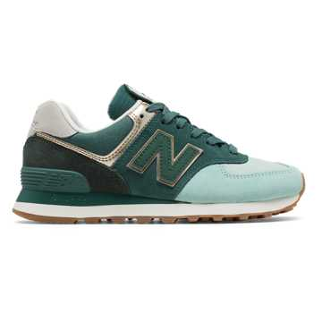 New Balance 574 Metallic Patch, White Agave with Light Gold