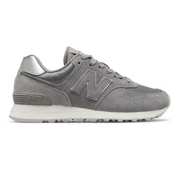 New Balance 574 Sateen Tab, Marblehead with Metallic Silver