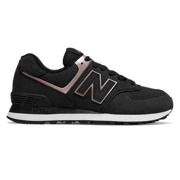 New Balance 574 Nubuck, Black with Champagne Metallic