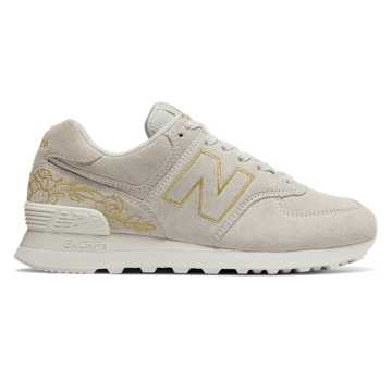 New Balance 574 Floral, Sea Salt with Gold
