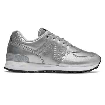 New Balance 574 Glitter Punk, Metallic Silver with Grey