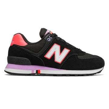 New Balance 574 Summer Shore, Black with Guava