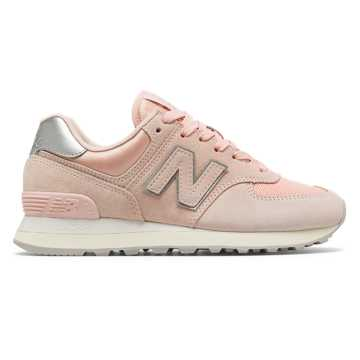 New Balance 574 Sateen Tab, Oyster Pink with Metallic Silver