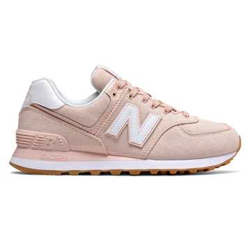 New Balance 574 Gingham, Oyster Pink with White