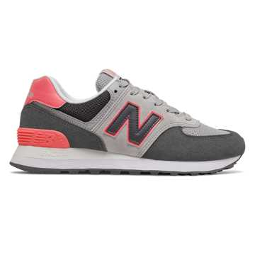 New Balance 574, Black with Tahitian Pink & Grey