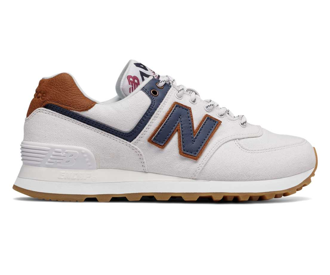 new balance 574 white \/navy textile sneakers with wheels