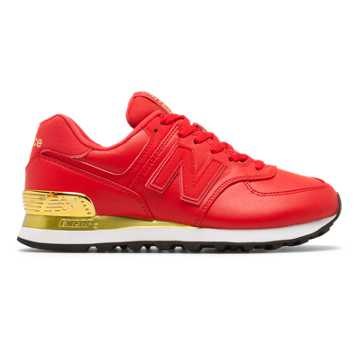 New Balance 574 Gold Dip, Cerise with Metallic Gold