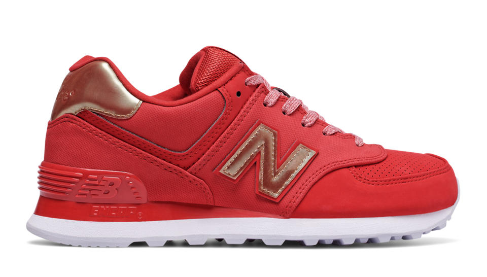 new balance shoes red. new balance 574 varsity sport, team red with metallic gold shoes e