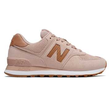 New Balance 574 Woven Logo, White Oak with Veg Tan