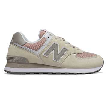 New Balance 574, Oyster with Oxygen Pink