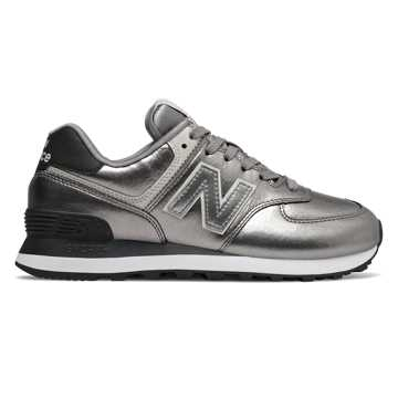 New Balance 574, Silver Metallic with Black