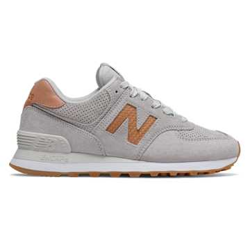 New Balance 574 Woven Logo, White with Veg Tan