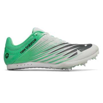 New Balance MD500v6 Spike, White with Neon Emerald