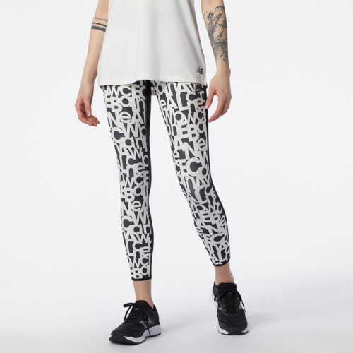 New Balance Mujer Relentless Printed High Rise 7/8 Tight - White, White