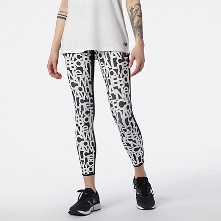 New Balance Relentless Printed High Rise 7/8 Tight, WP11178BKW image number null