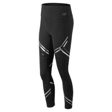 New Balance High Rise Transform Printed Tight, Black with Silver