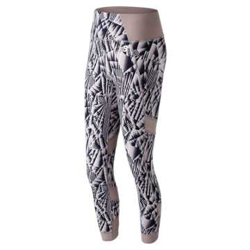 New Balance Printed Evolve Tight, Au Lait with Ice Blue & Sea Salt