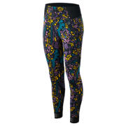 New Balance Printed Evolve Tight, Black with Supercell & Kite Purple