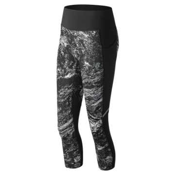 New Balance Printed Impact Capri, Black Multi