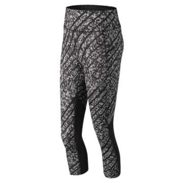 New Balance NYC Marathon Printed Impact Capri, Black with White