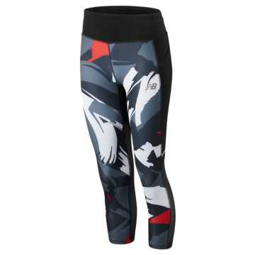 New Balance Printed Impact Capri, Velocity Red with White & Black