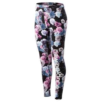 New Balance Essentials Printed In Bloom Legging, Winter Sky with Black