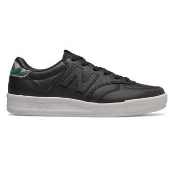 New Balance 300 Leather, Black with Print