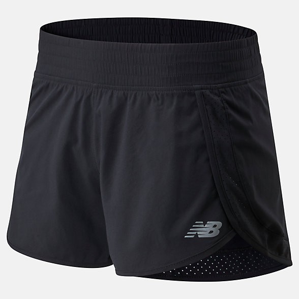 New Balance Accelerate Stretch Woven Short 3 Inch, WS01208BK