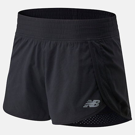 New Balance Accelerate Stretch Woven Short 3 Inch, WS01208BK image number null
